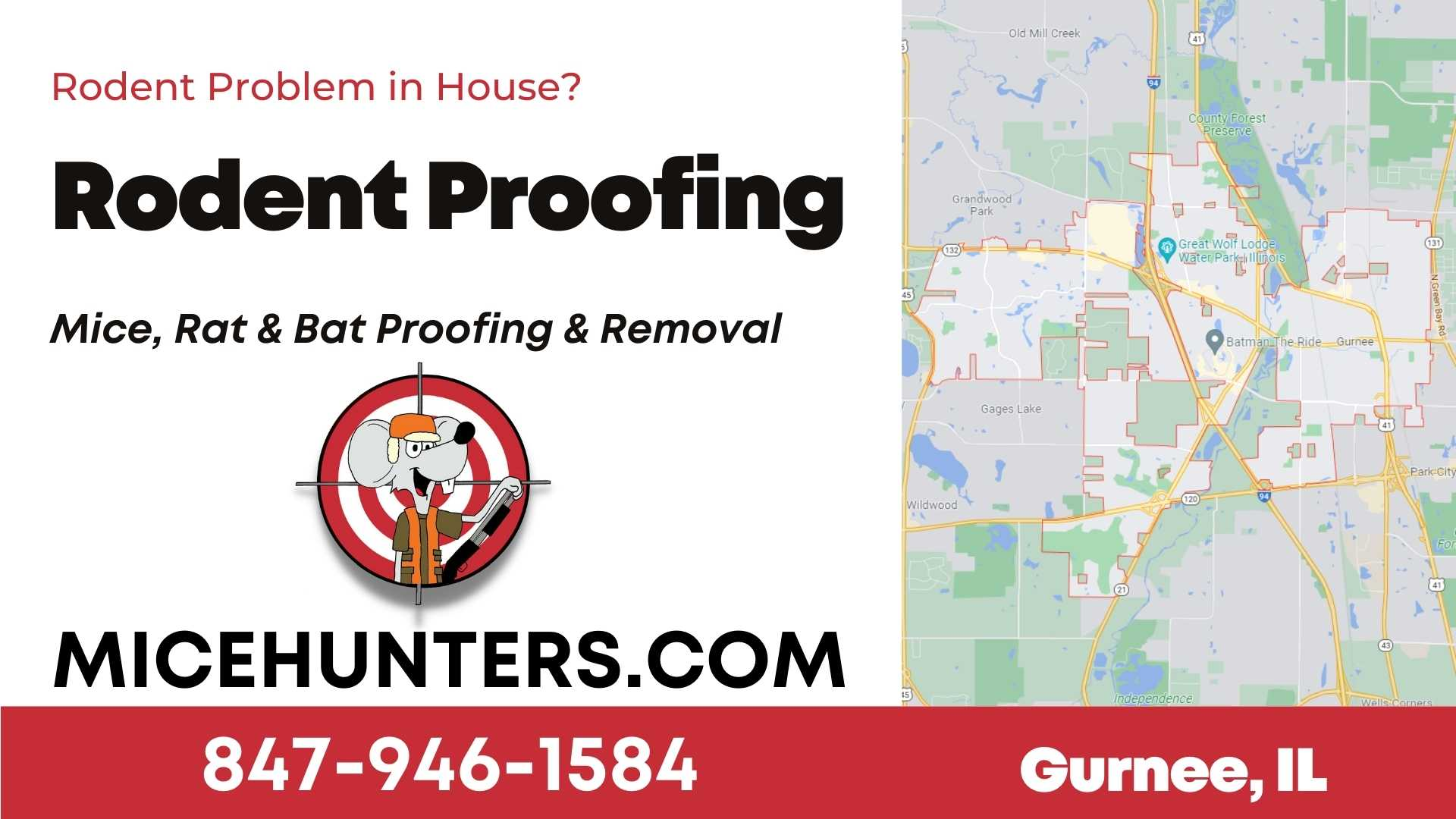 Gurnee Rodent and Mice Proofing Exterminator near me
